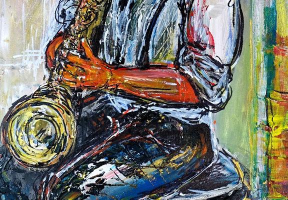 Musiker Gemälde Saxophon Malerei Acrylbild Original handgemalt Sax 60x80