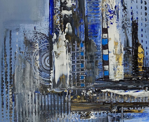 Diamont City 80x80 abstrakte Wandkunst Malerei Bild blau gold Gemälde Acrylbild
