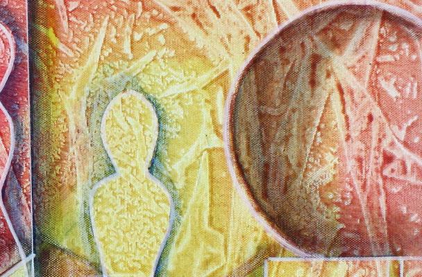 Planeten Wanderung rot gelb blau - abstraktes Gemaelde Bild - Kunst online kaufen
