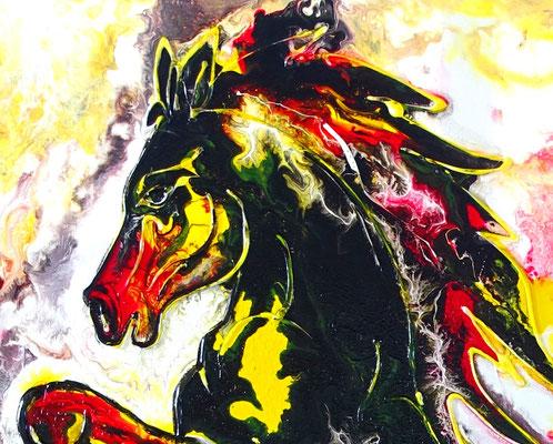 Feuerpferd 4 100x100 Pferdebild Pferd handgemalt abstrakt bunt schwarzer Hengst Malerei