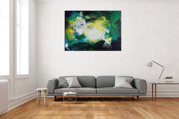Symbiose abstraktes Wohnzimmerbild grün Bürobilder XXL Kunst Bild Wandbild Acrylgemälde 116x81