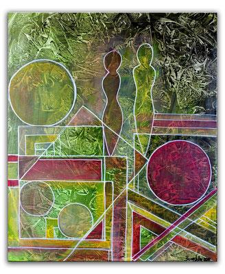 Begegnung Figuren Bild 50x60 Abstrakte Malerei Unikat Kunstbild handgemalte Bilder k