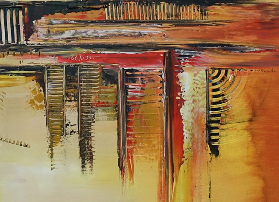 Summer abstraktes Wandbild Büro Praxisbild gelb orange Malerei