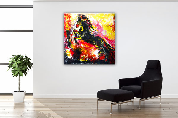 Feuerpferd 4 100x100 Pferdebild Pferd handgemalt bunt schwarzer Hengst Malerei Gemälde