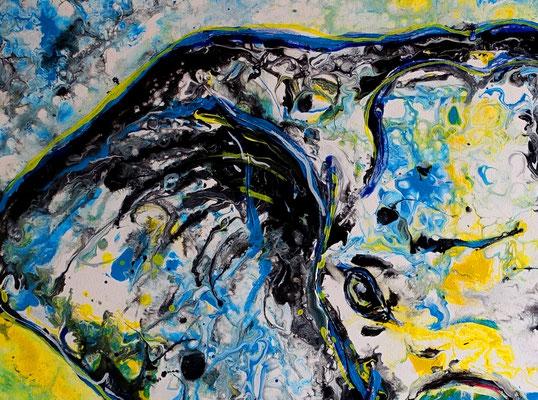 Elefant Elefantenbulle handgemalt Acryl Malerei Gemälde handgemalt Pouring