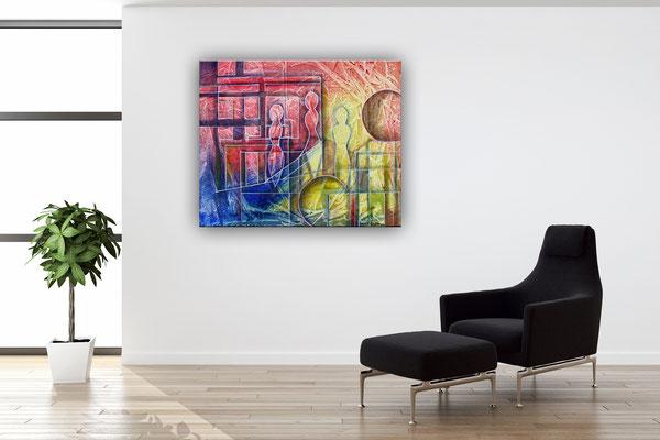 Planeten Wanderung rot gelb - abstraktes Gemälde - Burgstaller