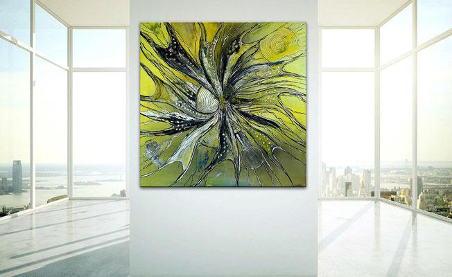 Expansion abstrakte Malerei Acrylbild Gemälde Kunst gelb grau