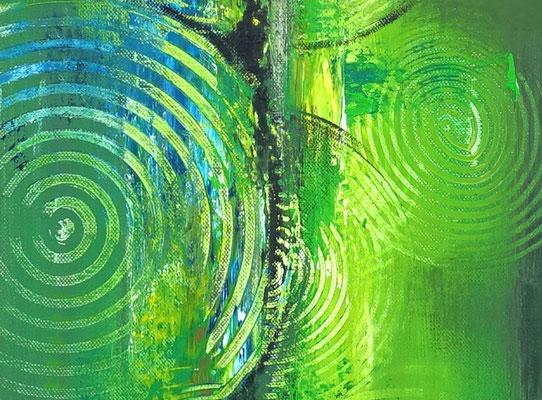 Küchenbilder grün abstraktes Acrylgemälde zweiteilig hochformat 5+6
