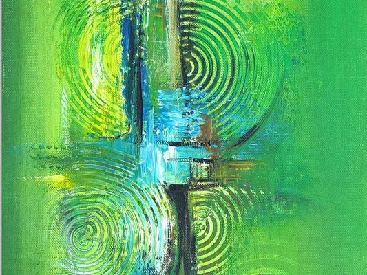 Wandbilder grün abstraktes Acryl gemälde zweiteilig hochformat 3+4 k