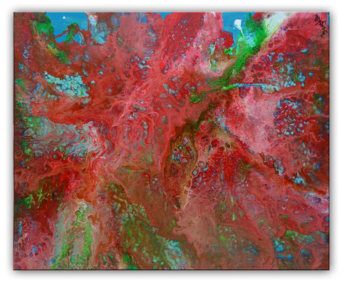 Fluid Painting rot blau abstrakte Malerei Pouring Acryl Gemälde Unikat