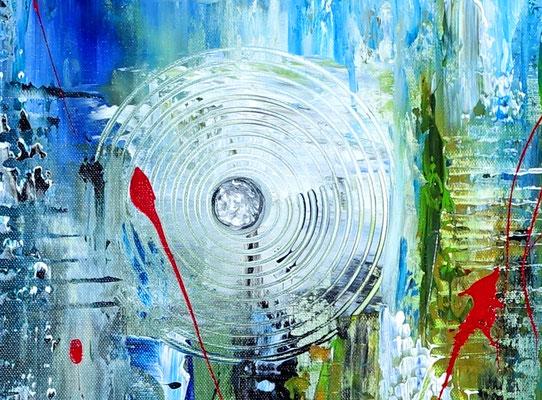 Golfball abstrakte Malerei Modernes Wandbild blau grün rot