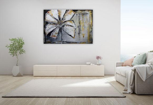 Wandbild Blumen Bilder gemalt Modern grau gold Blüten 100x70x2cm k