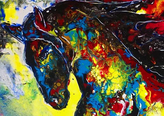 Wandbild Leinwandbild Buntes Pferd Acryl Malerei Pouring Original Gemälde 100x70