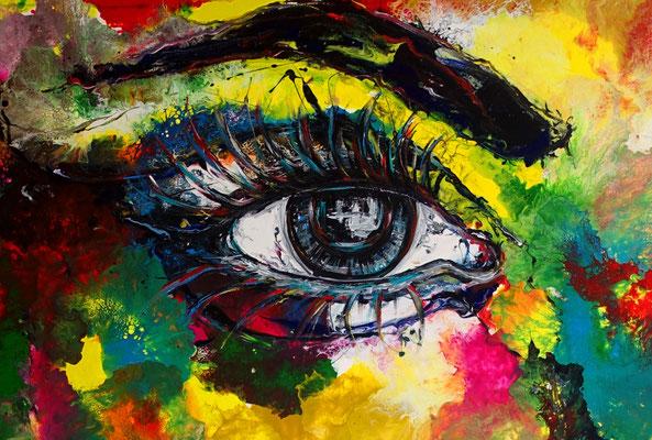Abstrakte Gesicht Malerei 150x100 mit Gelb Portrait Fluid Art