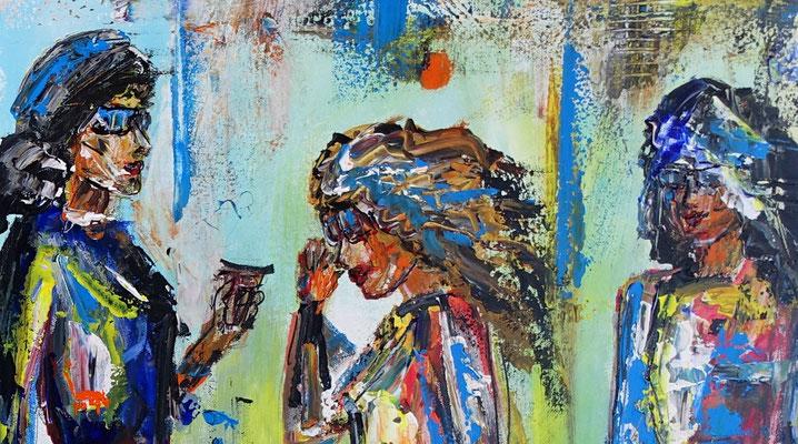 Streewalk Frauen Bilder auf Leinwand Menschen handgemaltes Gemälde