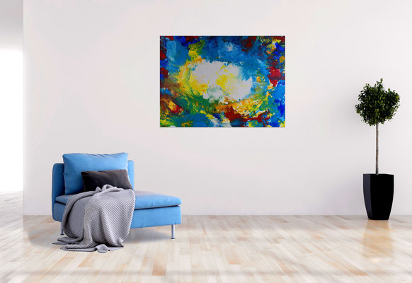 Ursprung abstrakte Kunst Malerei blau gelb Wandbild