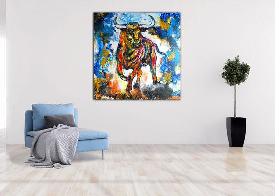 Bailaor Wandbild Stier Bulle Malerei Original Acrylgemälde Moderne Kunst Bilder
