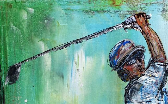 Golfer Abschlag Golfbilder Golfspieler Wandbild Acrylbild Modernes Gemälde Kunst Bild 80x100x2