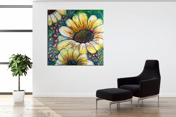 Sonnenblume Gemälde Malerei Acrylbild Unikat Wandbild Praxis bilder Kunst