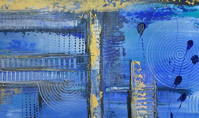 Unter Wasser Stadt abstrakte Gemälde Leinwandbild Wandbild Acryl bild