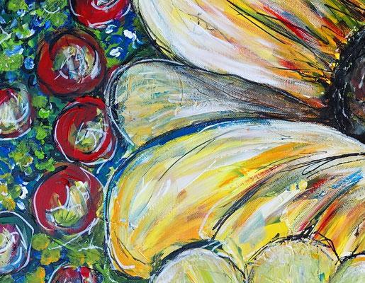 Sonnenblume Gemälde Malerei Acrylbild Unikat Leinwandbild Wandbild Kunst 80x80