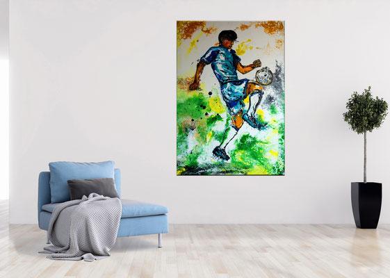 Fußball Knie Dribbeln abstrakt Sport Malerei Original Gemälde Kunst Bild