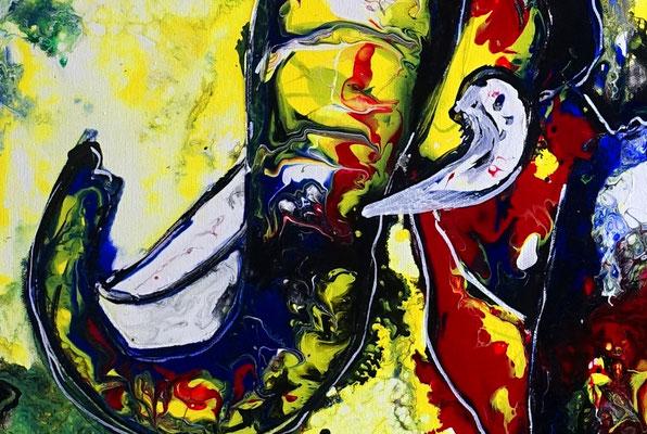 Wandbild Elefantenbulle handgemalt Acryl Malerei Pouring Gemälde abstrakt