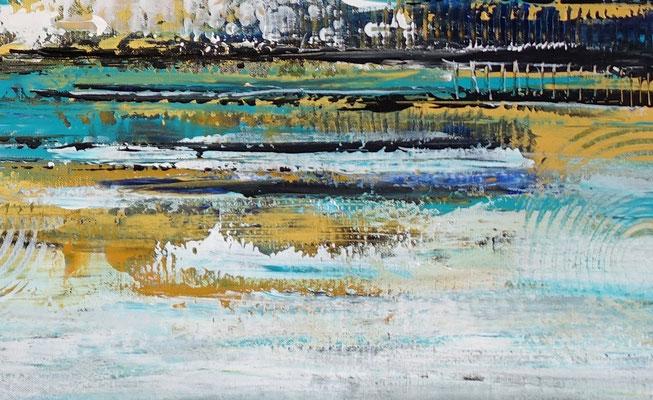 Nordwind abstrakte Malerei Wandbild blau gold handgemalt