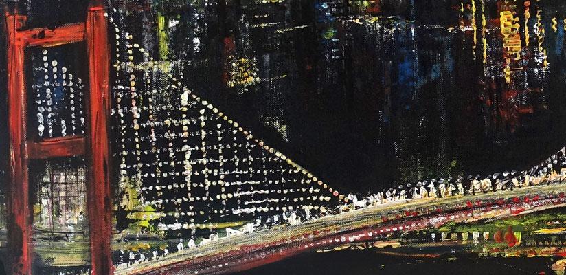 Istanbul at Night - 120x60cm - Modernes Städte Gemälde Acrylbild Leinwandbild 2103