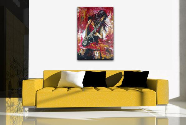 Saxophonistin modernes Musiker Gemälde Saxophon gemalt Leinwandbild