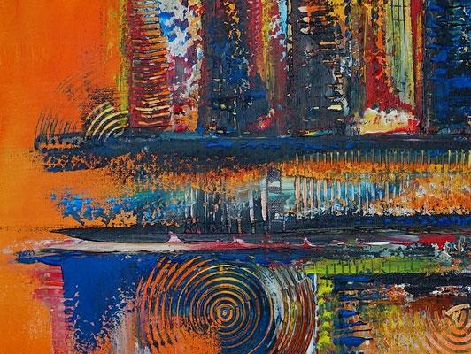 Oase abstraktes Leinwandbild orange blau modernes Kunstbild Büro Loft