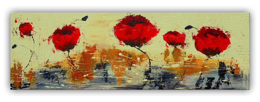 Mohnblumen Wind Küchenbild rot beige handgemaltes Acrylbild Unikat