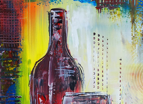 Weingläser Flasche abstrakte Malerei Rotwein Gläser Acrylbild