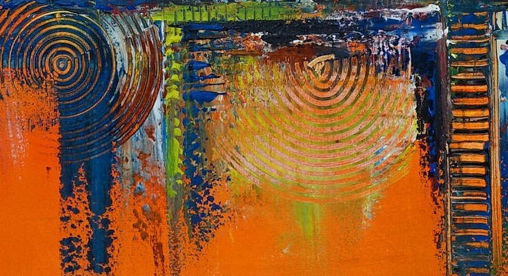 Oase abstraktes Leinwandbild orange blau modernes