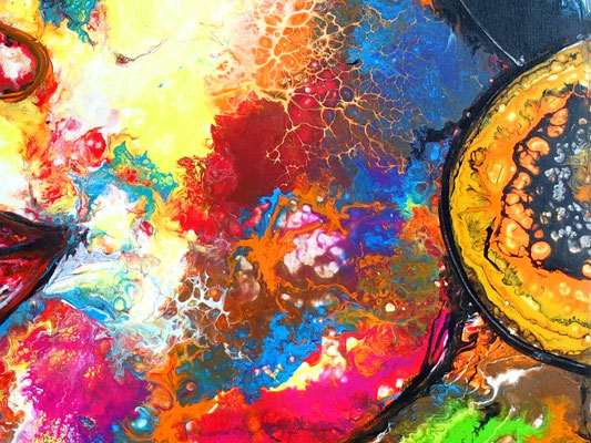 Romy abstraktes Frauengesicht handgemalt Porträt Malerei Original Gemälde