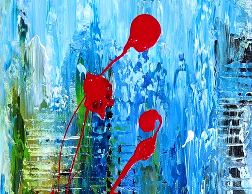 Golfball abstrakte Malerei Modernes Wandbild blau grün golfturnier