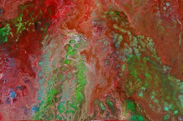 Fluid Painting rot blau abstrakte Malerei Pouring Acryl Gemälde 40x50cm günstig