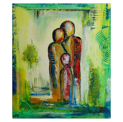 Familien Trio Figuren Malerei Wandbild Acrylbilder