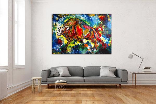 Diablo Wilder Stier Torro Bulle handgemalte Acrylbilder Moderne Tier Malerei