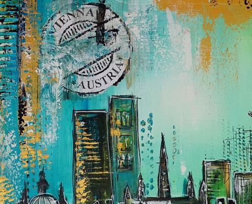Wien Wandbilder Skyline Stephansdom Prater abstrakt gemalt