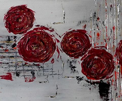 Struktur Rosen Wandbild handgemalt Acrylbild Original Gemälde Leinwandbild