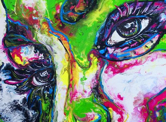 Nelly moderne Porträt Malerei Gesicht abstrakt handgemalt Original Acryl