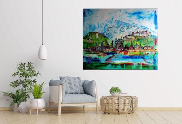 Salzburg Skyline Altstadt abstrakt gemalt Malerei Kunstbild Acrylgemälde