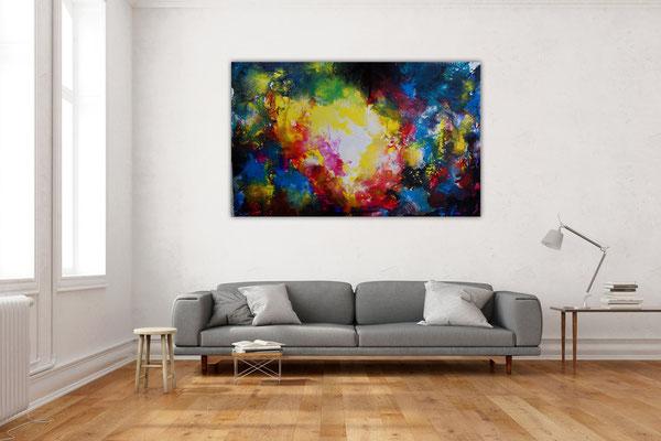 Supernova 5 Abstrakte Kunst Malerei Wandbild abstrakt Acrylgemälde Unikat 160x100x2cm k