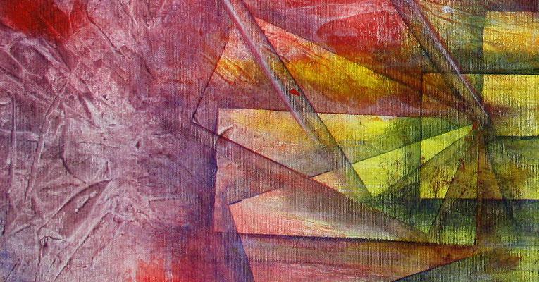 Planeten Stadt lila rot gelb bunt abstraktes Wandbild