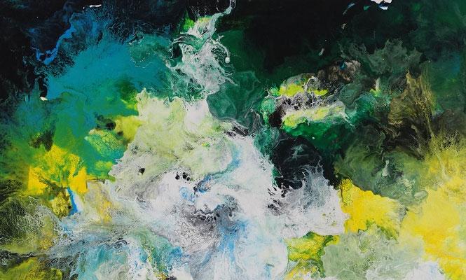 Symbiose abstraktes Wohnzimmerbild grün Bürobilder XXL Kunst Bild Wandbild Acrylgemälde