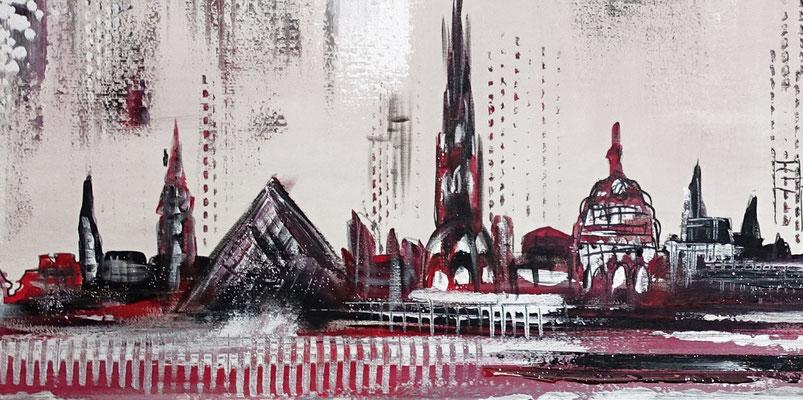 Skyline Ulm Münster RAthaus abstrakt gemaltes Acrylbild Künstler Bild 140x60