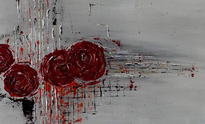 Struktur Rosen Wandbild handgemalt Acrylbild Original Gemälde 100x70