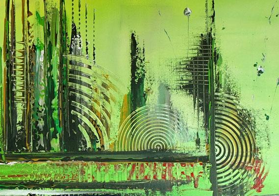 Skyline Grün Gelb 80x140 abstraktes Kunst Bild handgemalt Original