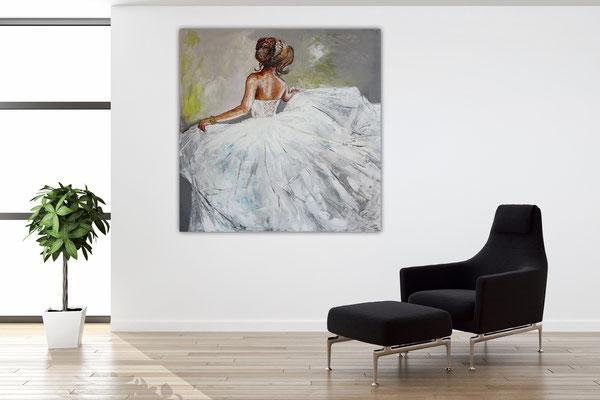Goldenes Armband Wandbild Braut Brautkleid Frauen Kunst Bild Malerei Ballerina Gemälde